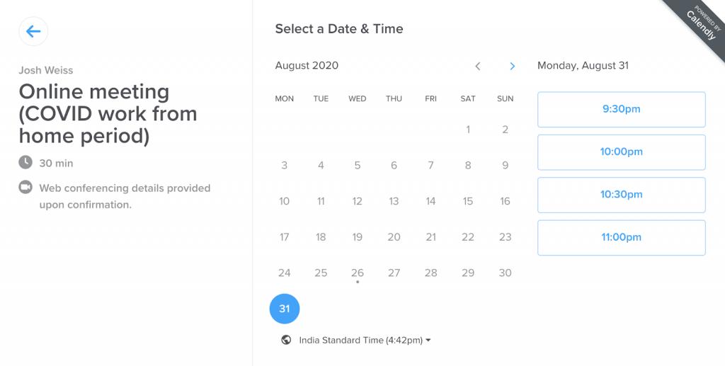 Screenshot of calendar on Calendly website